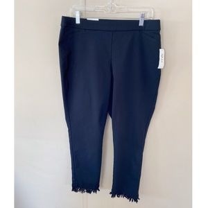 NWT Style & Co Black Fringe Hem Ankle Pants